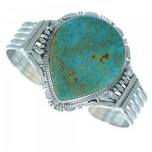 Kingman Turquoise Native American Sterling Silver Cuff Bracelet AX101623