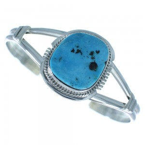 Sleeping Beauty Turquoise Authentic Sterling Silver American Indian Cuff Bracelet AX101704