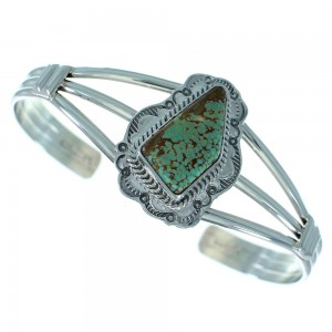 Kingman Turquoise Native American Sterling Silver Cuff Bracelet AX101655