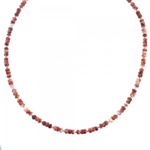 Red Oyster Shell And Sterling Silver Navajo Bead Necklace AX102122