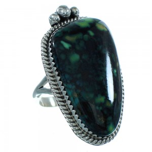 Genuine Sterling Silver Turquoise Navajo Ring Size 7-1/4 AX102169