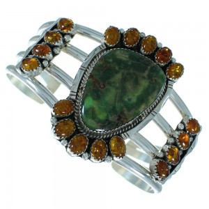 Broken Arrow Turquoise And Amber Native American Sterling Silver Cuff Bracelet RX102190