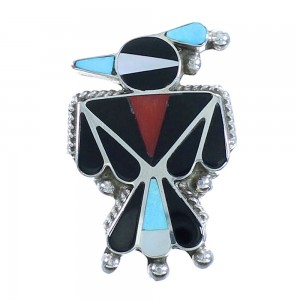 Multicolor Thunderbird Authentic Sterling Silver Zuni Pin Pendant RX102408