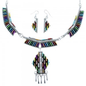 Multicolor Sterling Silver Needlepoint Navajo Link Necklace Set AX102333