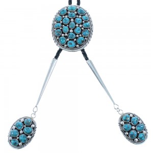 Turquoise Sterling Silver Navajo Bolo Tie AX102355