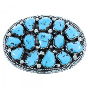 Authentic Sterling Silver Turquoise Navajo Belt Buckle AX102358
