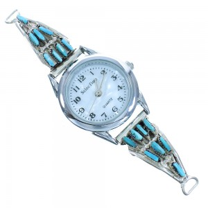 Turquoise Needlepoint Zuni Sterling Silver Watch AX102385