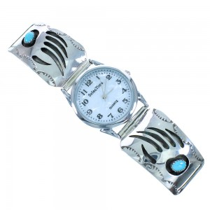 Genuine Sterling Silver Navajo Turquoise Bear Paw Watch AX102399