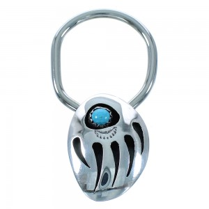 Turquoise Bear Paw Sterling Silver Navajo Key Chain AX102410