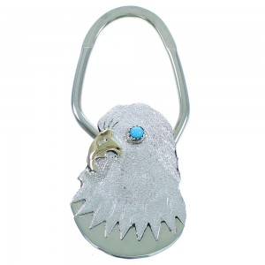 12 Karat Gold Filled Silver Turquoise Navajo Eagle Key Chain AX102433
