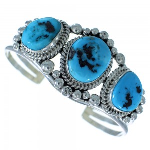 Sleeping Beauty Turquoise Sterling Silver Navajo Cuff Bracelet AX102496