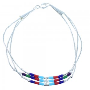 Multicolor Hand Strung Liquid Sterling Silver Bracelet AX102580