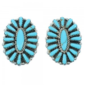 Sterling Silver Turquoise Navajo Post Earrings AX102607