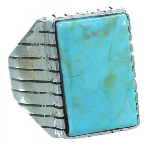 Kingman Turquoise Native American Silver Ray Jack Ring Size 10-1/2 AX102668