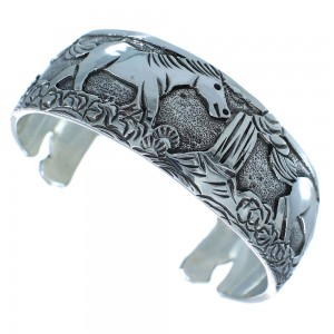 Genuine Sterling Silver Horse Navajo Cuff Bracelet AX102728