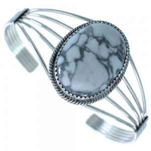 Howlite Authentic Sterling Silver Navajo Native American Cuff Bracelet RX102702