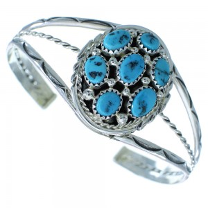 Navajo Authentic Sterling Silver And Turquoise Cuff Bracelet RX102723