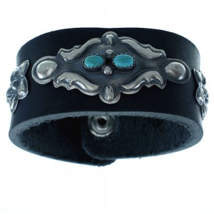 Navajo Indian Turquoise Sterling Silver Leather Concho Bow Guard Bracelet RX102780