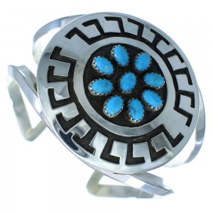 Turquoise Sterling Silver American Indian Cuff Bracelet RX103448