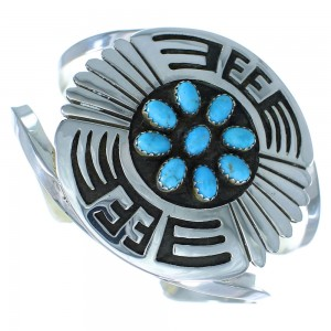 Turquoise Genuine Sterling Silver Navajo Indian Cuff Bracelet RX103450
