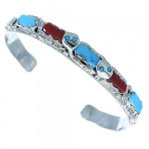 Turquoise And Coral Zuni Indian Authentic Sterling Silver Effie Calavaza Snake Bracelet RX103469