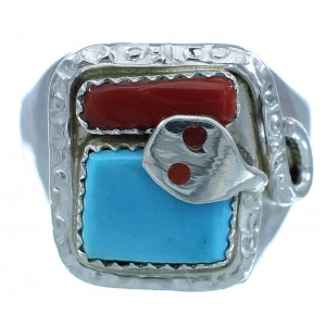 Zuni Effie Calavaza Turquoise And Coral Sterling Silver Snake Ring Size 11-1/4 AX102786