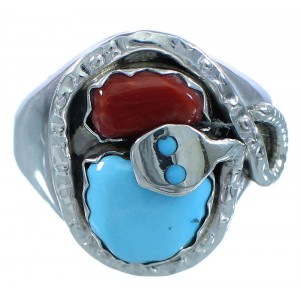 Turquoise Coral Effie Calavaza Zuni Snake Sterling Silver Jewelry Ring Size 10-1/2 RX107525