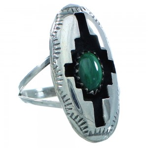 American Indian Authentic Sterling Silver Malachite Ring Size 7-1/4 TX103020