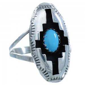 Genuine Sterling Silver Native American Navajo Turquoise Ring Size 8-1/2 TX103035