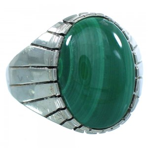 Native American Malachite Sterling Silver Ray Jack Navajo Ring Size 9-3/4 TX103070