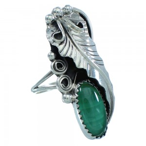 Genuine Sterling Silver American Indian Malachite Leaf Ring Size 7 TX103077