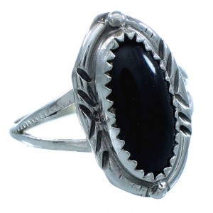 Onyx Sterling Silver Native American Ring Size 7-3/4 TX102868