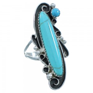 Native American Sterling Silver Turquoise Ring Size 7-1/2 TX102915