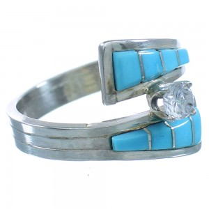 Genuine Sterling Silver CZ Turquoise Zuni Jewelry Ring Size 5-1/2 TX103189
