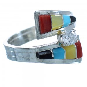 Native American Multicolor Inlay Cubic Zirconia Sterling Silver Zuni Ring Size 7-1/2 TX103206