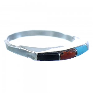 Genuine Sterling Silver Multicolor Native American Jewelry Ring Size 6-3/4 TX103236