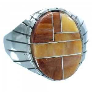 Native American Sterling Silver Oyster Shell Inlay Ray Jack Navajo Ring Size 12-1/2 TX103395