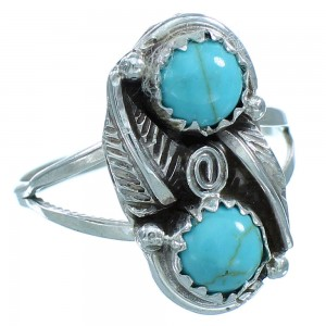 American Indian Navajo Genuine Sterling Silver Turquoise Leaf Jewelry Ring Size 7-1/2 TX103411