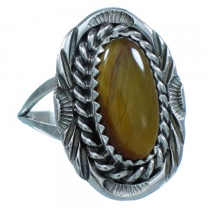 Sterling Silver Tiger Eye Navajo Ring Size 5-1/2 TX103485