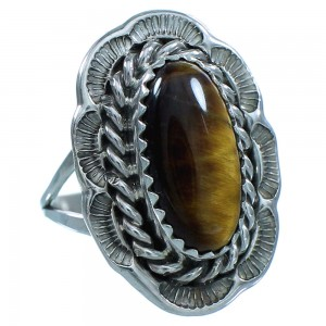Authentic Sterling Silver Tiger Eye Navajo Jewelry Ring Size 6-3/4 TX103491