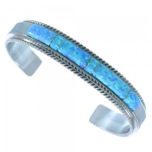 American Indian Blue Opal Inlay Authentic Sterling Silver Jewelry Cuff Bracelet RX102895