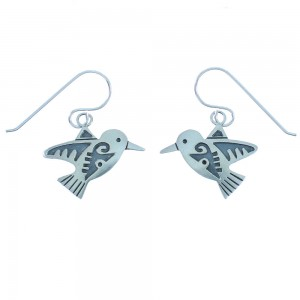 American Indian Sterling Silver Navajo Hummingbird Hook Dangle Earrings TX103552