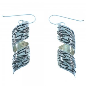 Native American Genuine Sterling Silver Navajo Hook Dangle Earrings TX103565