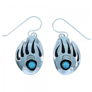 Sterling Silver Turquoise Bear Paw American Indian Hook Earrings TX102975