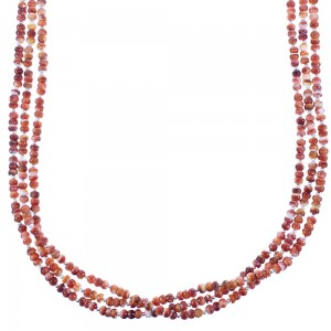 Red Oyster Shell Sterling Silver Native American 3-Strand Bead Necklace RX103137