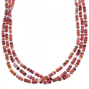 Genuine Sterling Silver Red Oyster Shell Native American 3-Strand Bead Necklace RX103147