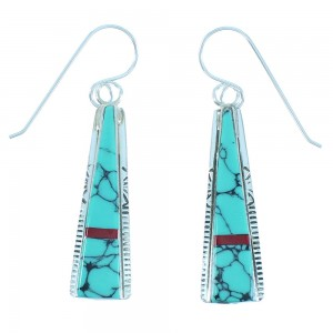 Turquoise And Coral Authentic Sterling Silver Theresa Joe Navajo Hook Dangle Earrings RX103286