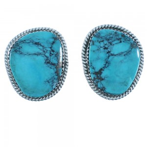 American Indian Navajo Turquoise Sterling Silver Clip On Earrings RX103310