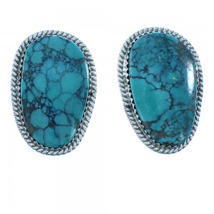 Navajo Turquoise Authentic Sterling Silver Clip On Earrings RX103321
