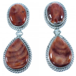 Red Oyster Shell Navajo Genuine Sterling Silver Post Dangle Earrings RX103339
